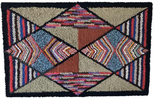 D451 Late 19th century  Pennsylvania geometric hooked rug, , with variegated diamonds and triangles, professionally mount and ready for hanging in outstanding condition