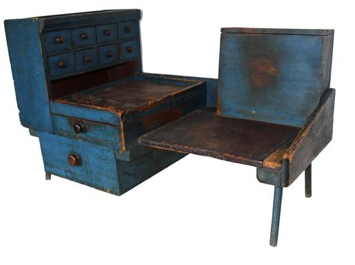 C442 19th century  cobbler�s bench,Identified to the boot maker Eldred IL Prentiss, from Milford Massachusetts, lived on Asy Street, in the year of 1872. This Cobbler's Bench  still retains it's beautiful blue paint.