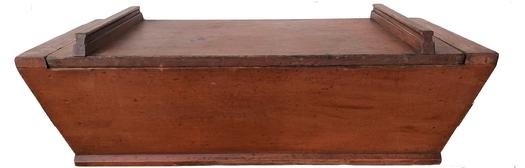 "A232 19th century  Pennsylvania Lancaster Country  table top Dough Box, original red paint,  square head nails with one board construction. One board top with two applied handle all original surface Measurements ar; 34"" long x 14 1/2' wide x 11"" tall"