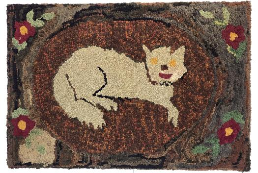 "E53   Early 20th century  Fantastic Folky Cat Hooked Rug Mounted on frame beautiful colors, Gray  Cat laying on mat,  background  surrounded by  boarder  1900-1920  Measurements are 26"" tall x 38 1/2"""