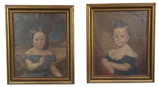 F602 Pair of oil on canvas portraits of a girl and a boy, both are signed and dated �T.C. Ruckle 1855�- Framed measurements: 25 1/2� tall x 21 3/4� wide Artist: Thomas Coke Ruckle (American 1811-1891) � from Baltimore, Maryland.  He received a formal training in fine art at the Royal Academy in London from 1839 to 1841. On his return to Maryland he became a successful portrait painter, working out of a studio on Baltimore St. He also worked as an illustrator, creating a series of scenes of the American West, and also a number of drawings for a volume titled Early History of Methodism in Maryland, published in 1866.