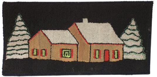 P47 New England early 20th century  hooked rug of house with trees, with snow on the house and trees on a black background, mounted on frame ,good condition, great colors