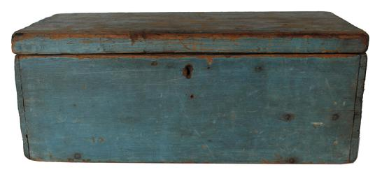 "RM663 Early 19th century New England Document Box in the original dry robin egg blue paint surface, square head nail construction, with a thick beaded edge to the front and back of the lid. Natural patina on the inside with a divider 14 1/2"" wide x 7 1/2"" deep x 6"" tall"