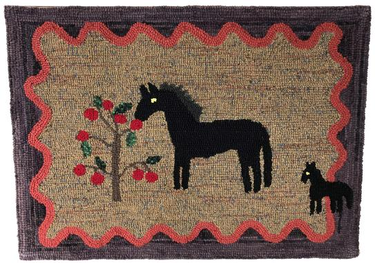 "E536 Early 19th century amazing American hooked rug, This dynamic piece of folk art features an apple tree, . Colors are vibrant with no losses. Hooked into a burlap backing. The rug measures an impressive 26 tall"" by 35 1/2"" antiques@mycountrreasures.com"