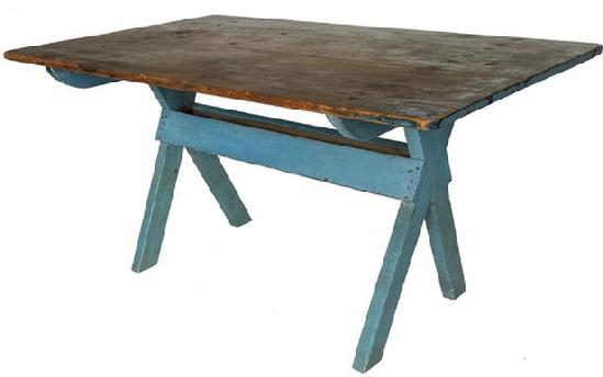 F526 Early 19th century Pennsylvania sawbuck table, having a two-board pine top and a base in beautiful robin egg blue paint. circa 1820 With the apple tray below. The top has a wonderful patina and traces of the original blue paint still remain on the top, and is in very good condition ,It also has an excellent overhang