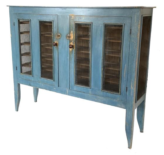 "G34  19th century New York  original robin egg blue painted screen  Pie Safe, The screen Pie Safe was used for storing bake goods.  The two doors are mortised and pin with two panels of screen  in each door, and sides have one large panel, the interior is nice and clean and with the removeable shelves, it rest on high shaped legs,  the wood is  pine and poplar  attributed to Watervliet, New York Shakers, retaining its original blue surface, 54 1/2"" high 63 1/4"" wide  16 1/2"" deep . ."