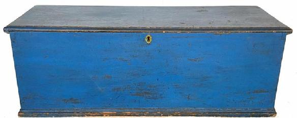 "G54 Early 19th century New England Blanket Chest / Seachest in beautiful old blue paint , the case of the chest is dovetailed , with applied moldin around the base, the interior is very unusual with four dovetailed drawer , with the original ring pulls, the board in fromt of the drawers is to lock the drawers in place so they would not come out in rough waters. the interior of the chest is clean, one board construction circa 1800 Measurements are 50 1/8"" long  x18 1/2"" deep x 17 /2"" tall"