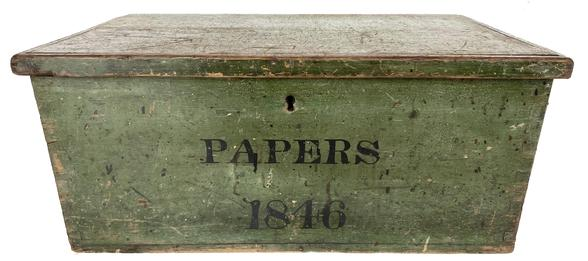 "F642 Dated 1846  Storage Box  for Papers ,, in the best dry green paint,dated 1846 in black letters the box is dovetailed all original  12 1/4"" deep x 20 3/4"" wide x 9 1/8"" tall"
