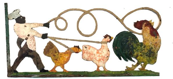 **SOLD** F9 Late 19th century Southern Butcher's or Meat Market iron Trade Sign, A great piece of Americana Folk Art depicting a Butcher lassoing a rooster and two hens. The sign is cast iron and completely hand cut out, retaining old paint with traces of the original paint showing. Measurement: 23 3/4� tall x 48� wide
