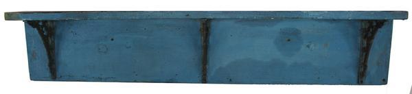 LL21 Late 19th century Wall Shelf with old blue paint, two board construction with round corners, circa 1870