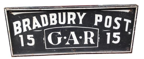RM324 Late 19th century Maine Civil War Veteran�s Grand Army Republic  Trade Sign , � BRADBURY  POST 15 G.A.R.�  the sign is painted on one wide board, with applied molding, original white and black paint, sign by Artist.