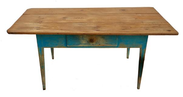 "D447 19th century Shenandoah Valley Virgins  Farm Table , in original blue paint, with a single over sized square head nailed  drawer, three board top, mortised and pegged construction, Measurements are 68"" long x 38 1/2"" wide x 30 1/2"" tall  from skirt to floor is 22 1/4"""