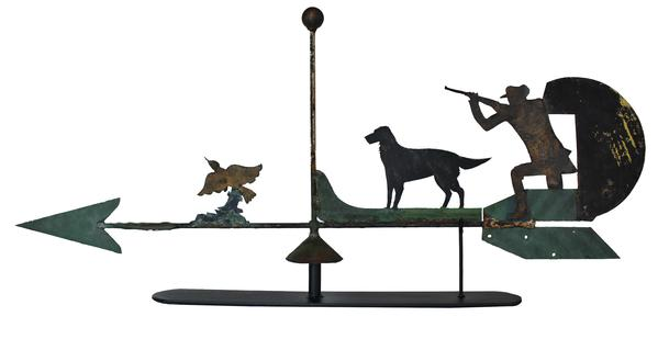 "C463 Early 20th century Mid Altantic folk art Weathervane,  sheet iron cut out of  Hunter with his dog bird hunting in old weathered painted surface. Come with stand for displaying Measurements are:  45"" long x 27"" tall 5"" wide"