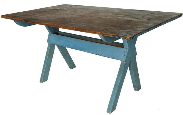 "F526 Early 19th century  Pennsylvania  sawbuck table, having a two-board pine top and a base in beautiful robin egg blue paint. circa 1820  With the apple tray below. The top has a wonderful patina and traces of the original blue paint still remain on the top,   and is in  very good condition ,It also has an excellent overhang, allowing for comfortable seating for up to six people. The condition is outstanding , Measurements are 35"" wide x 57"" long x 29"" tall"