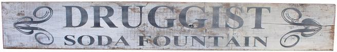 C610 Early 20th century Druggist Soda Fountain Pharmacist Wooden Trade Sign, paint on single board, white background with black letting