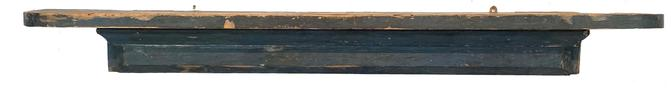 "F751 Early 19th century Pennsylvania hanging wall shelf/mantle original indigo blue paint. The wood is white pine with all square nail construction. Circa 1820�s. Top board is 1 1/4 inches thick! Very heavy and sturdy shelf!  Measurements: 63 3/4"" wide x 8 1/4"" deep x 6 1/2"" tall"