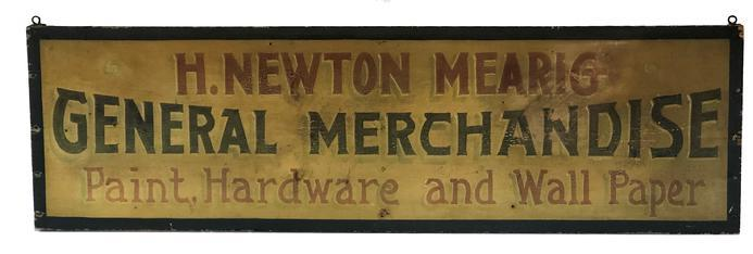 F51 19th century General Merchandise wooden trade sign advertising Paint Hardware and Wall Paper. H. Newton Mearig, proprietor from Lancaster County, Pennsylvania. Single board with yellow background with green and red letters and a green border.
