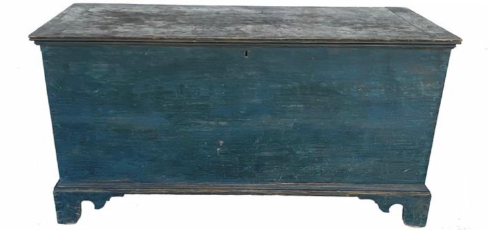 "G39 EARLY 19TH CENTURY  BLUE PAINTED  PENNSYLVANIA  BLANKET CHEST, This is a wonderful early 1820's painted blanket chest from South eastern Pennsylvania,  with  ORIGINAL  blue paint.  , The exterior of the case crafted of six broad planks , the sides and bottom joined with exposed dovetail construction.  The base is affixed with  small nails  and the feet are delicate high brackets. It has bread board ends with molding across the from of the lid. The lid lifting on original wrought iron hinges dovetailing to the front and sides, all original  Measurements:  47 1/2"" wide  x 203/4"" D x 25"" H"