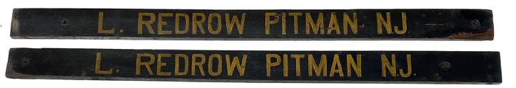 "S433  Late 19th century matching pair of wagon signs, for L. Redrow, Pitman New Jersey. The two sign are painted black background with mustard letting and they are one sided, they where used on the side of a wagon advertising a business in New Jersey  they measure 55"" long x 4"" tall"