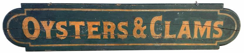 "G73  Wonderful Oyster and Clams Trade Sign, dates from the 1890's - 1900's the sign has it's old mustard and black  painted surface, black back ground, with mustard  letters, mustard painted boarder ,  painted on one board with shaped ends  with back braces,  , old age cracks from being exposed to the weather over it�s life time. Measurements are: 63' long x 14"" tall"